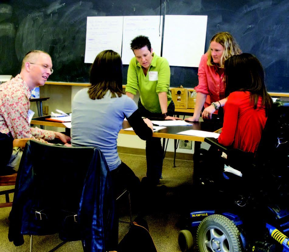 SU alums Deanna Adams and Jessica Bacon teaching a disability studies course
