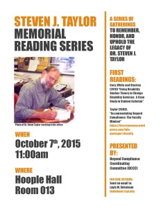 Image of Flyer for Steven J. Taylor Memorial Reading Series